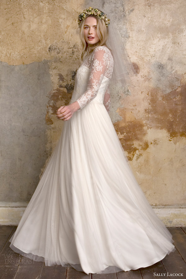 Sally Lacock Bridal 2015 Sylvie 1950s Vintage Style Wedding Dress Illusion Neckline Long Sleeves Side View
