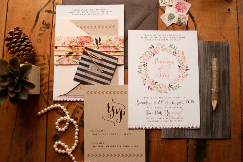 Unique Rustic Floral Wedding Invitations