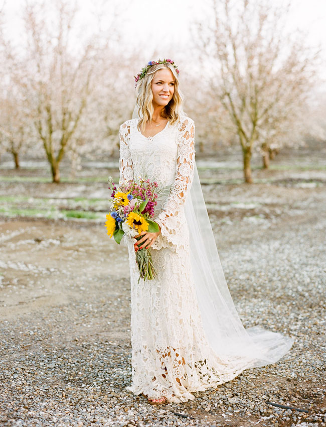 Backyard Wedding Bohemian Bride Flower Crown