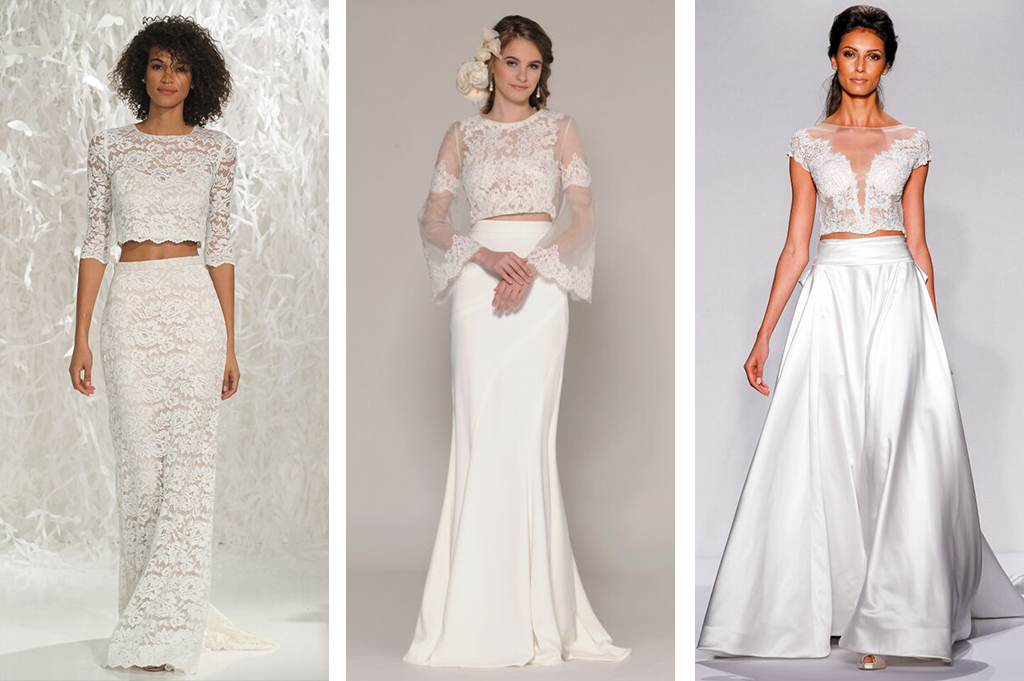 Top wedding dress trends at new york bridal fashion week for Crop top wedding dress