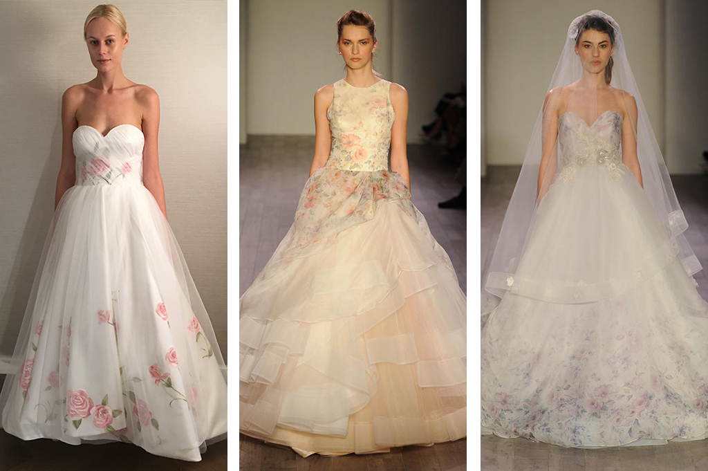Top wedding dress trends at new york bridal fashion week for Floral dresses for weddings