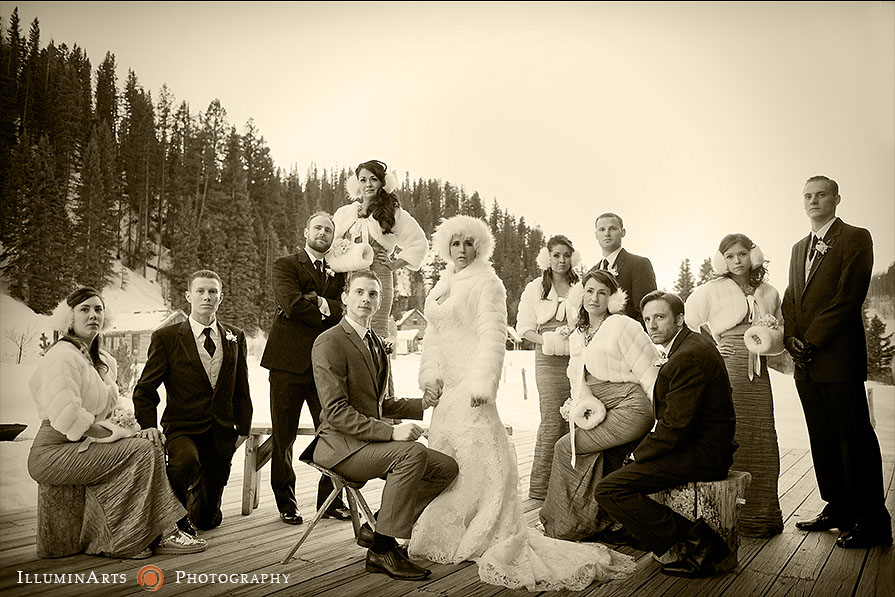 outdoor winter wedding in snow and colorado mountains