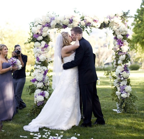 bride and groom just married at california wedding