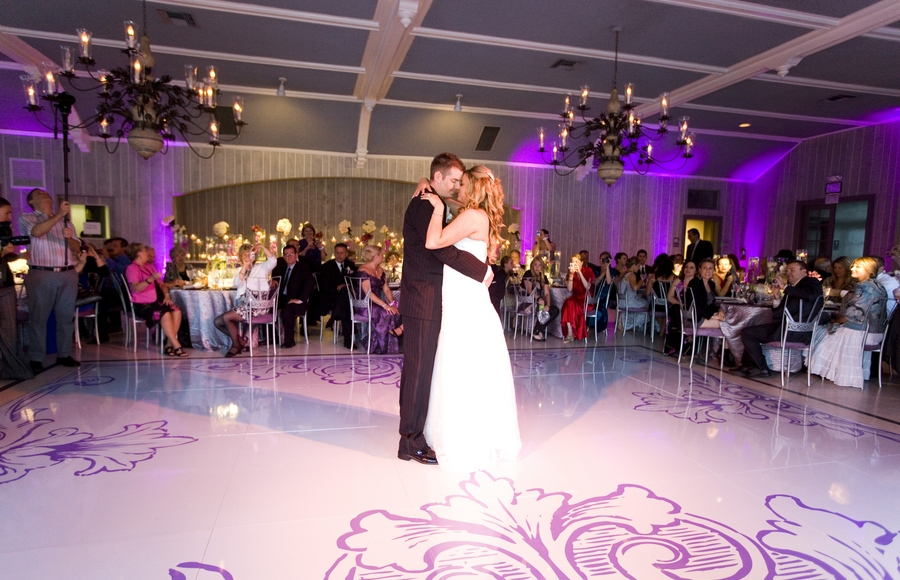 bride and groom first dance at malibou lake mountain club reception