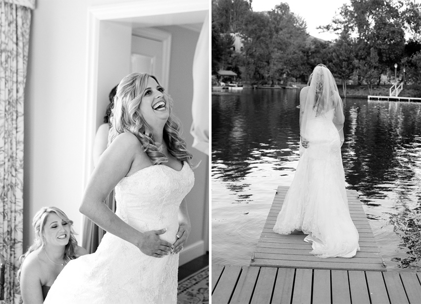 bride getting ready for her romantic california wedding