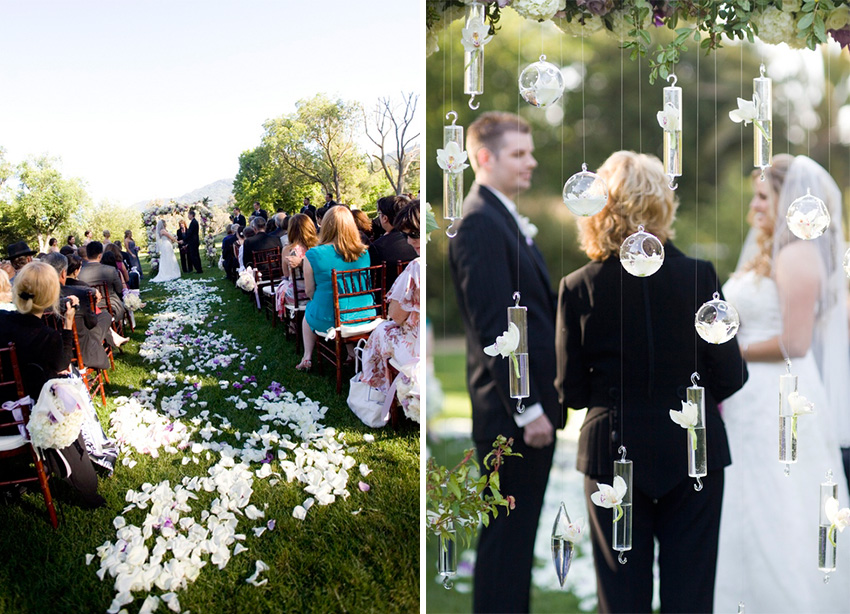 bride and groom getting married at outdoor california wedding