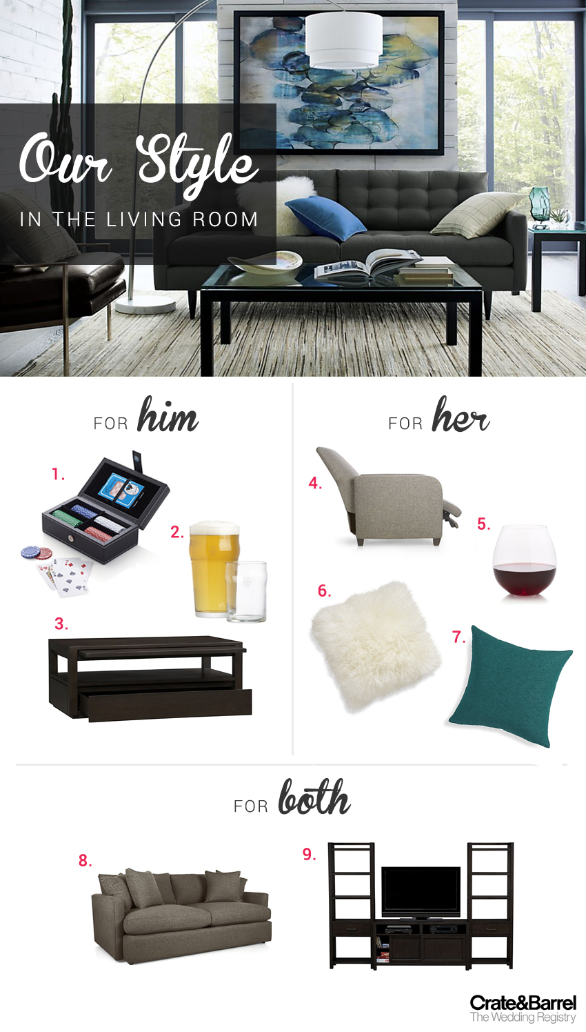 His and Hers Wedding Registry Style with Crate and Barrel - BridalPulse