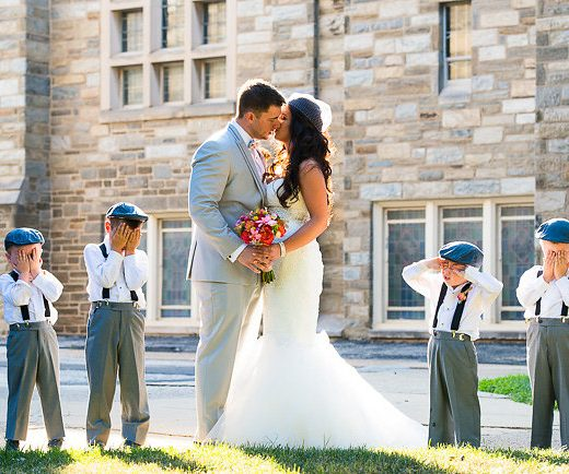 bride and groom kiss old world charm wedding in philadelphia
