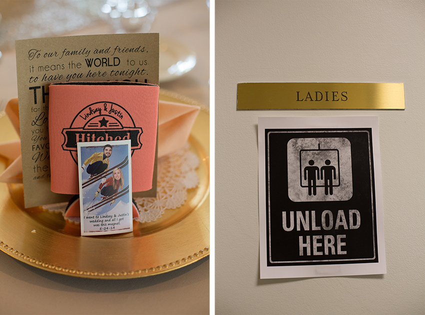 favors and bathroom sign at ski lovers virginia wedding
