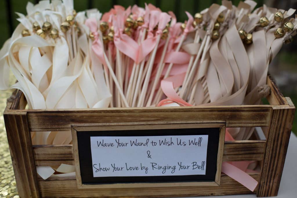 crate of wands at virginia wedding