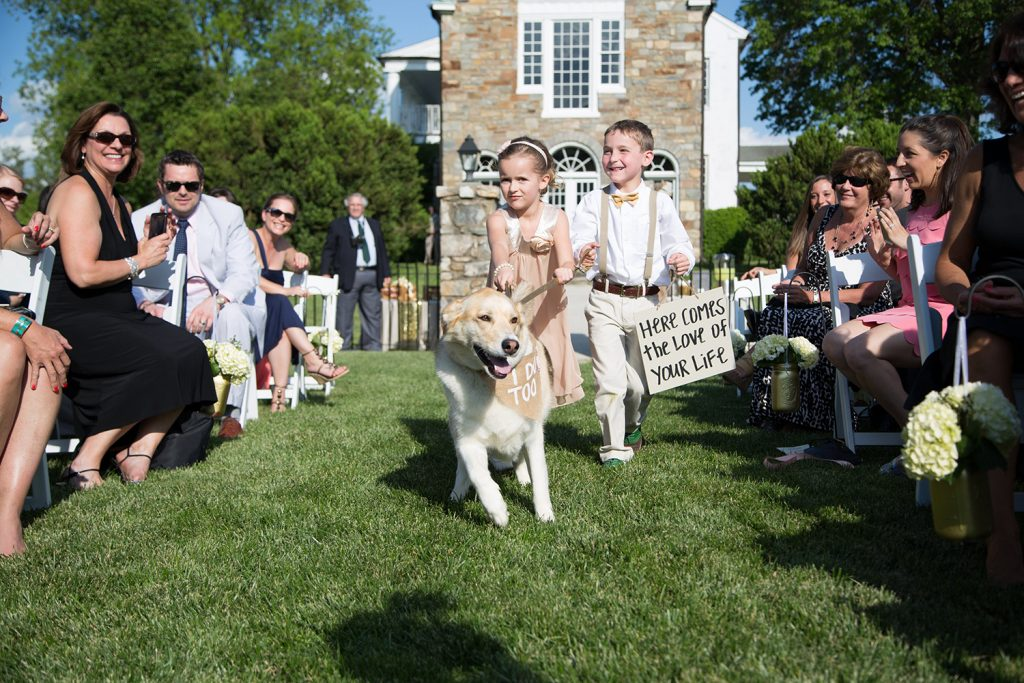 flower girl ring bearer and dog walking down the aisle with here comes the bride sign