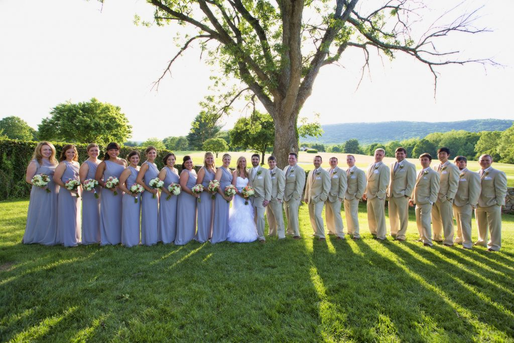 bride and bridesmaids and groom and groomsmen