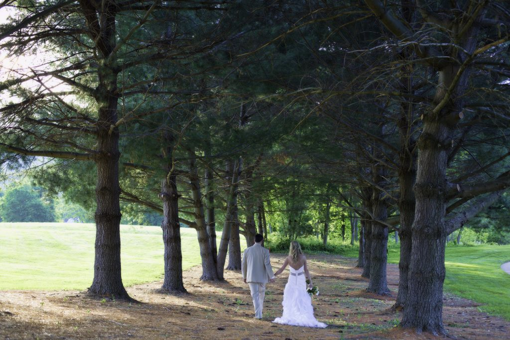 bride and groom just married outdoor virginia wedding ceremony
