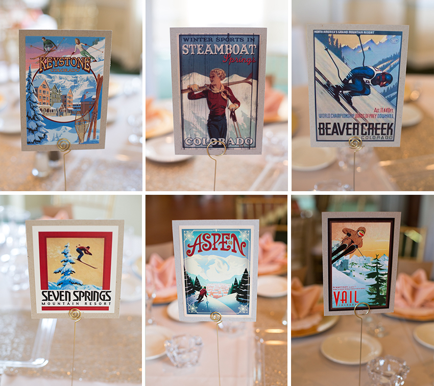 ski poscards table numbers at virginia wedding