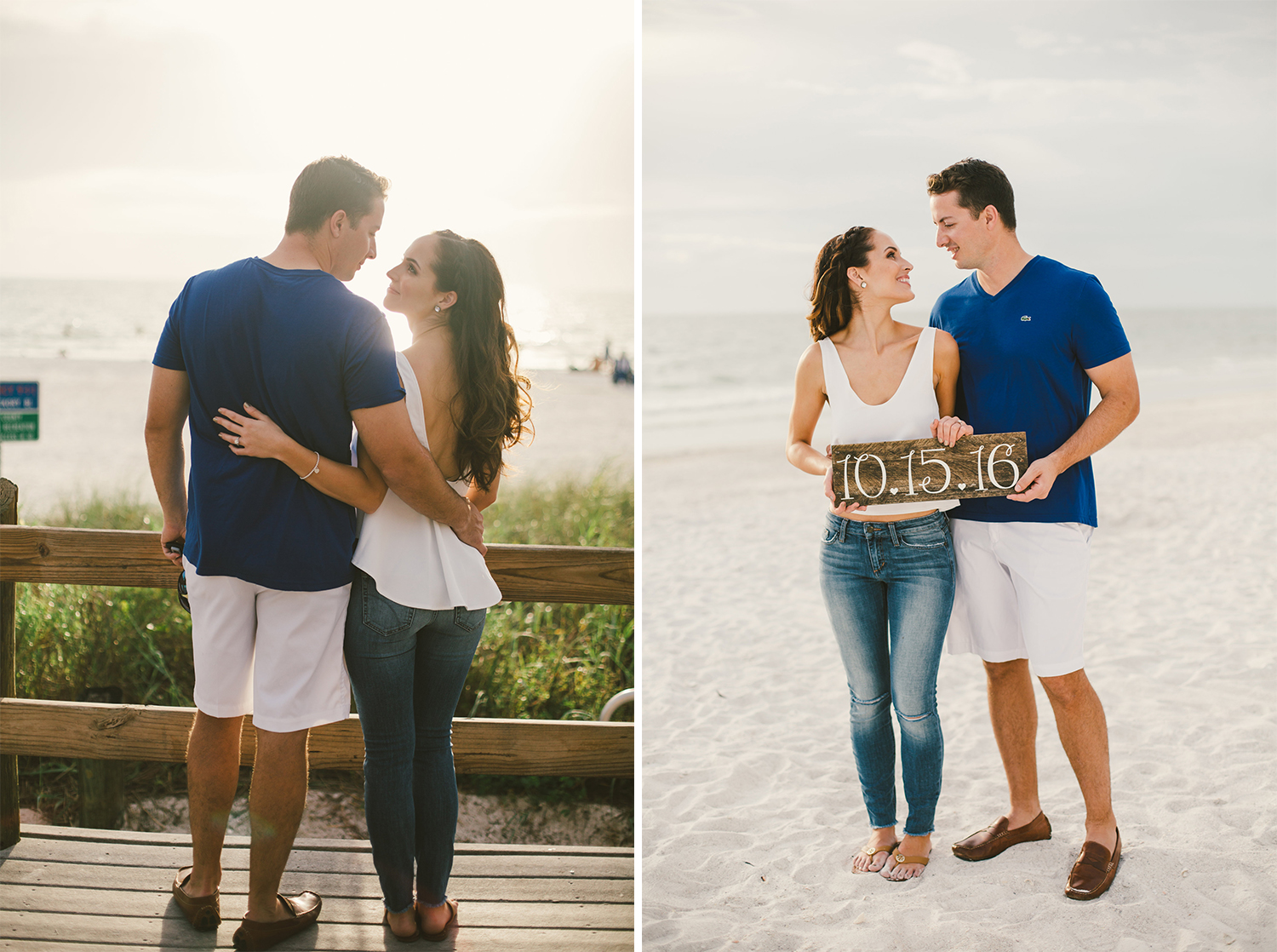 romantic engagement shoot on a beach in florida - wooden sign with wedding date