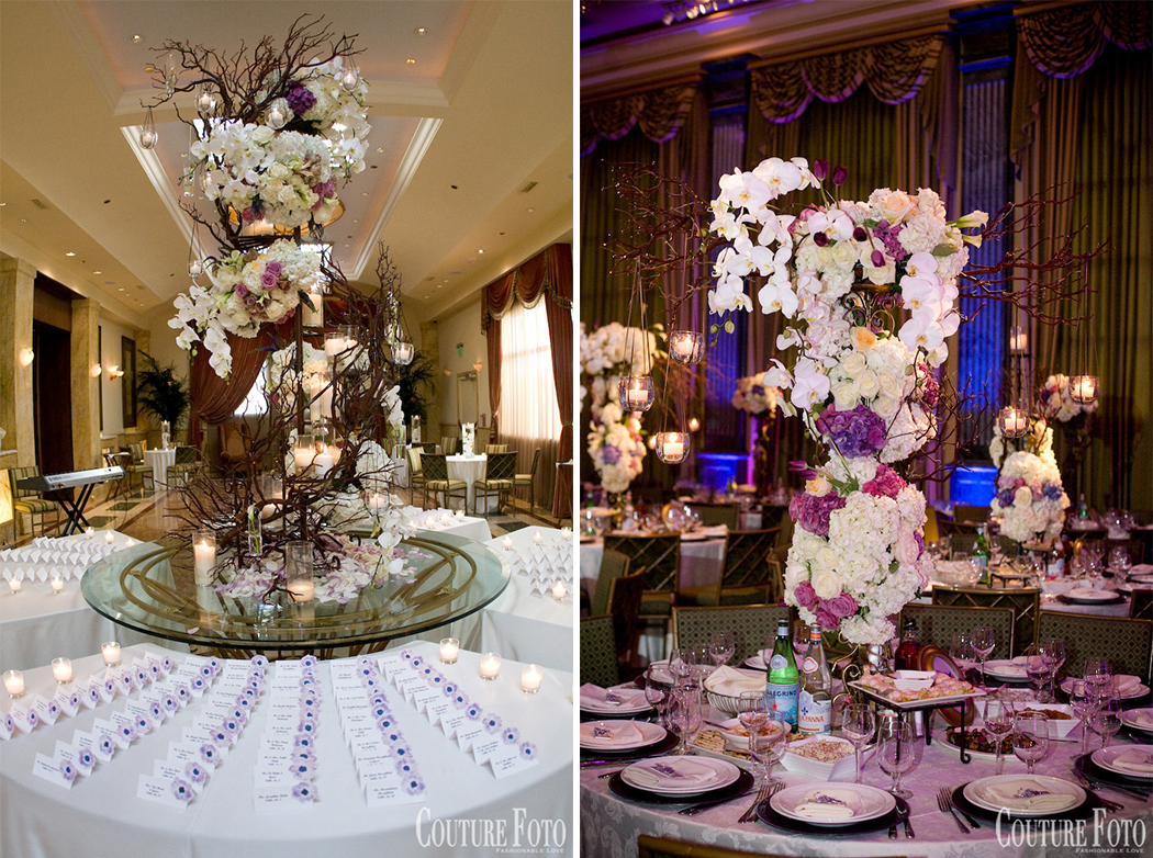 wedding centerpieces with florals, branches, and candelights