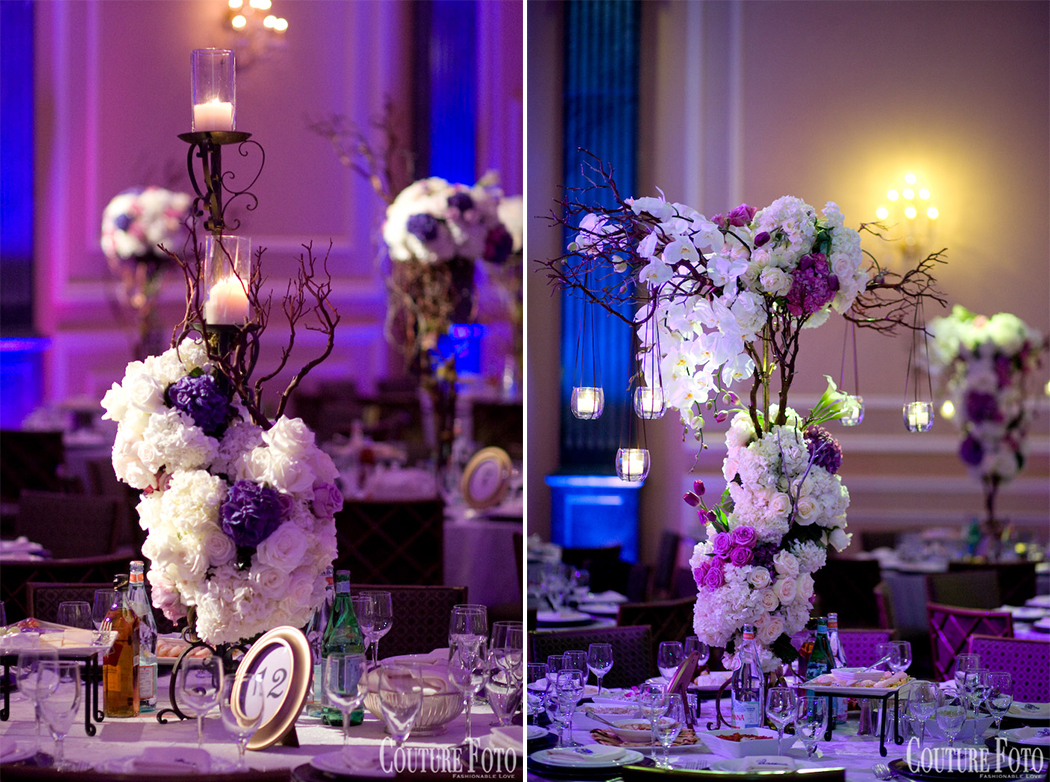 floral centerpiece with branches and candles for fantasy wedding