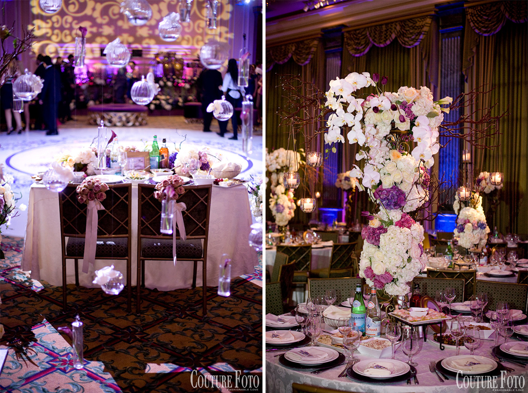 glass ornaments adorning custom made canopy around the wedding sweetheart table