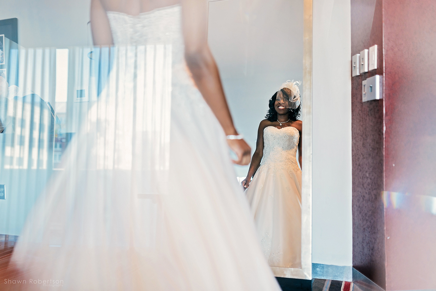 bride in wedding dress for southern rooftop wedding
