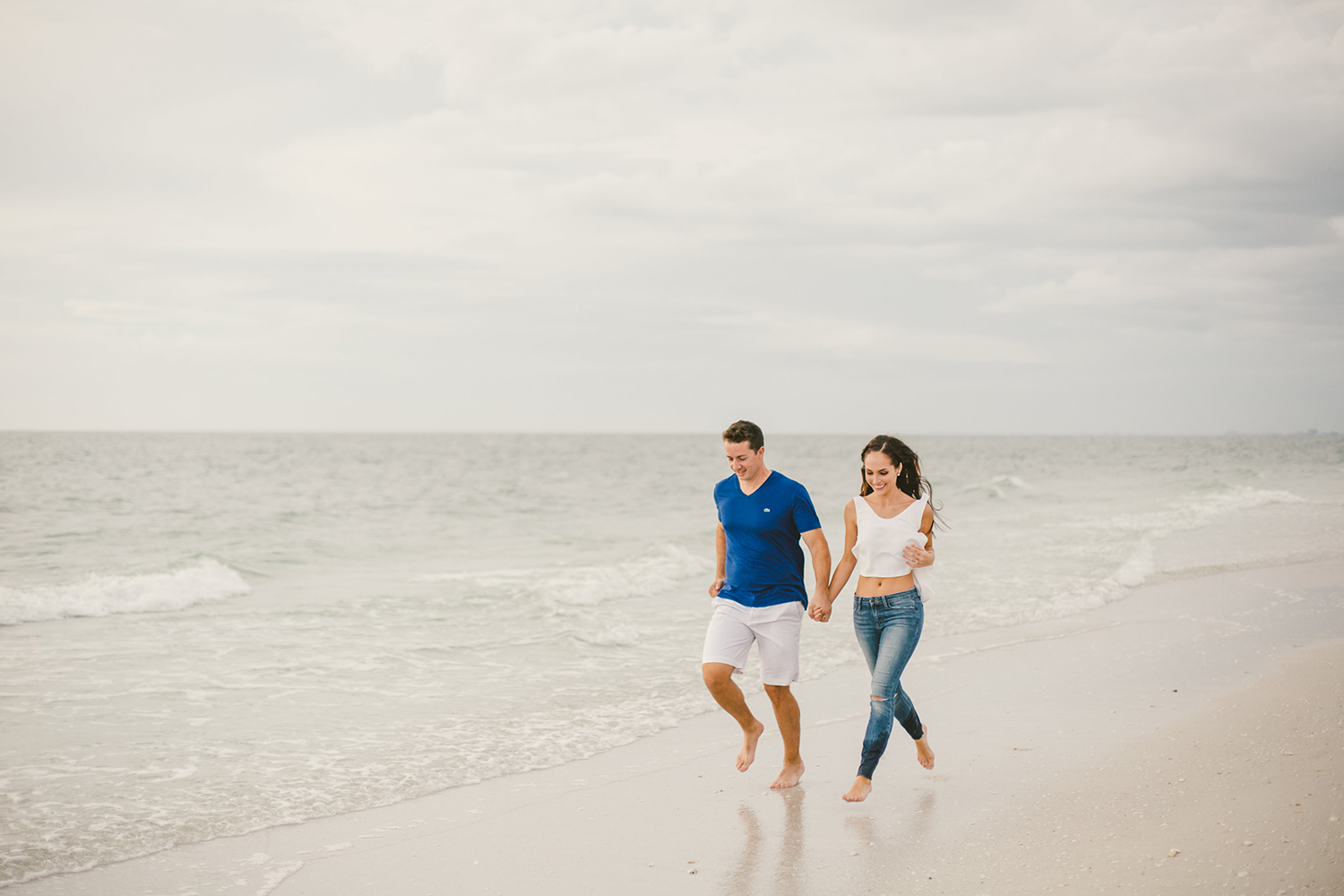 romantic engagement shoot on a beach in florida
