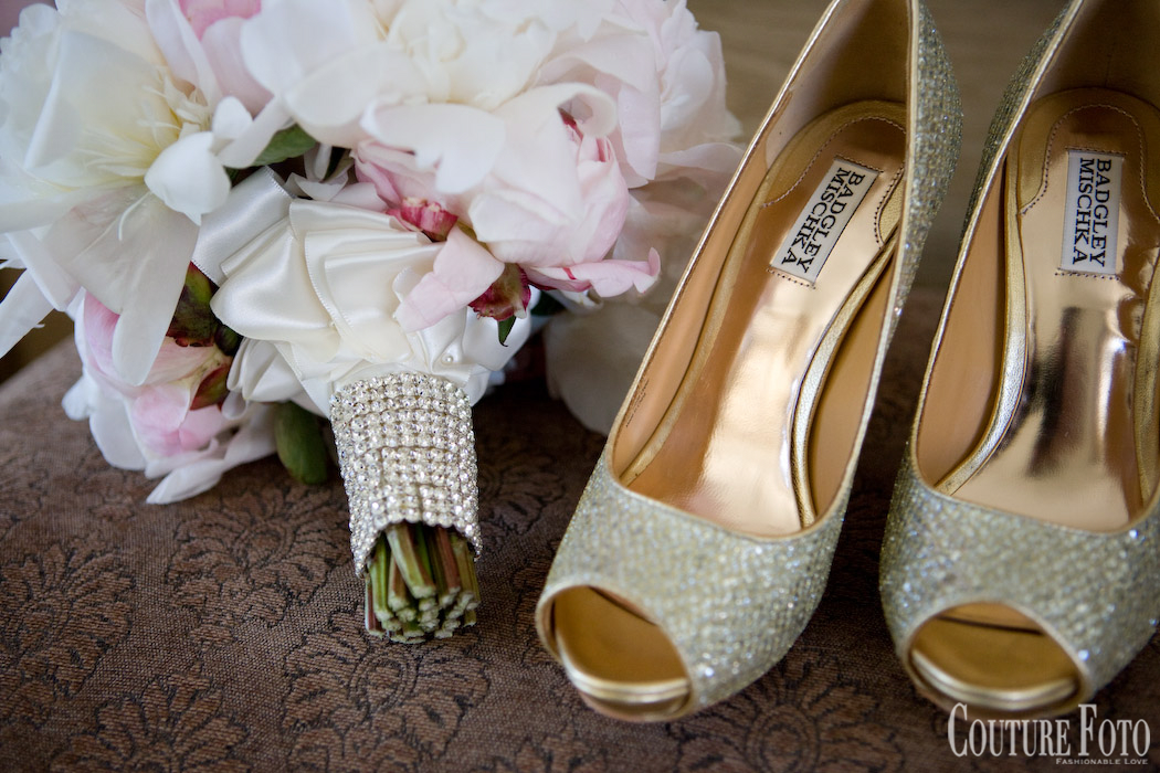 pink and white wedding bouquet with badgley mischka shoes