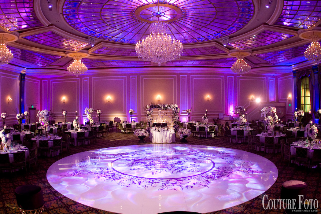 dance floor with custom floral designed pattern in the center