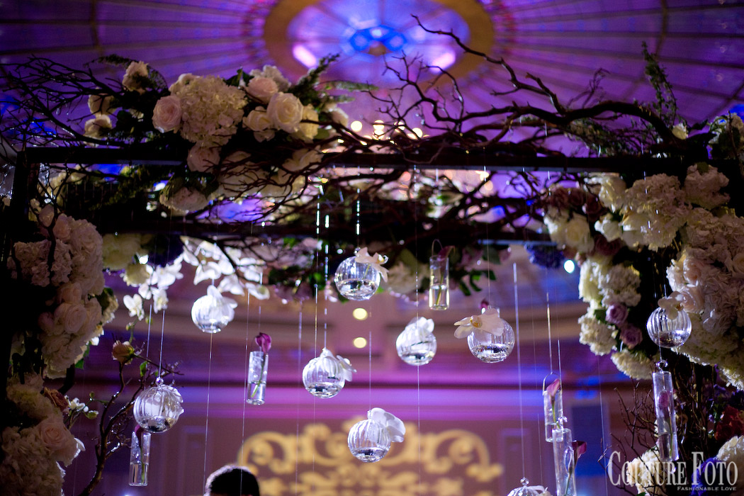 hanging glass ornaments on custom made canopy at new jersey wedding