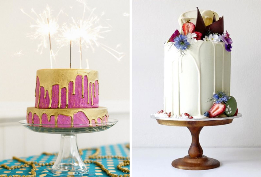 color dripped wedding cakes
