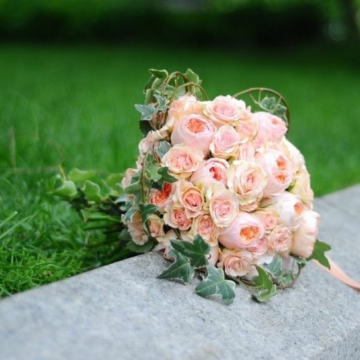 organic wedding bouquet with foliage and vines