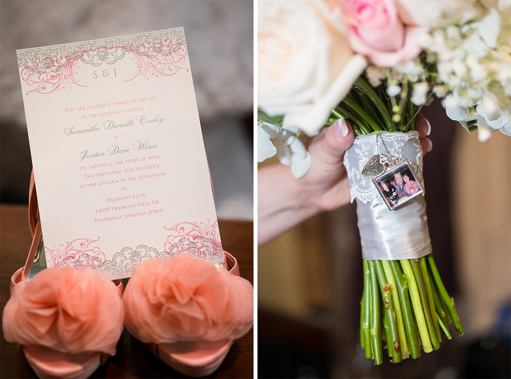pink wedding invitation and pink rose bouquet with picture