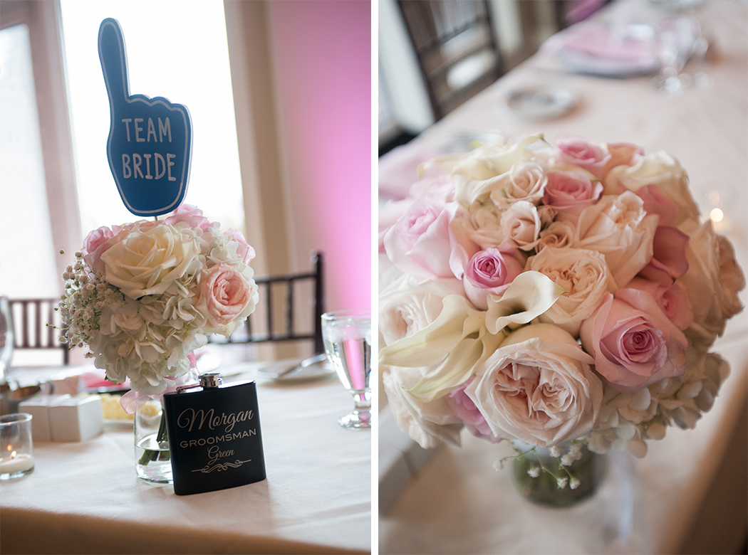 pink and white rose centerpieces at country club wedding