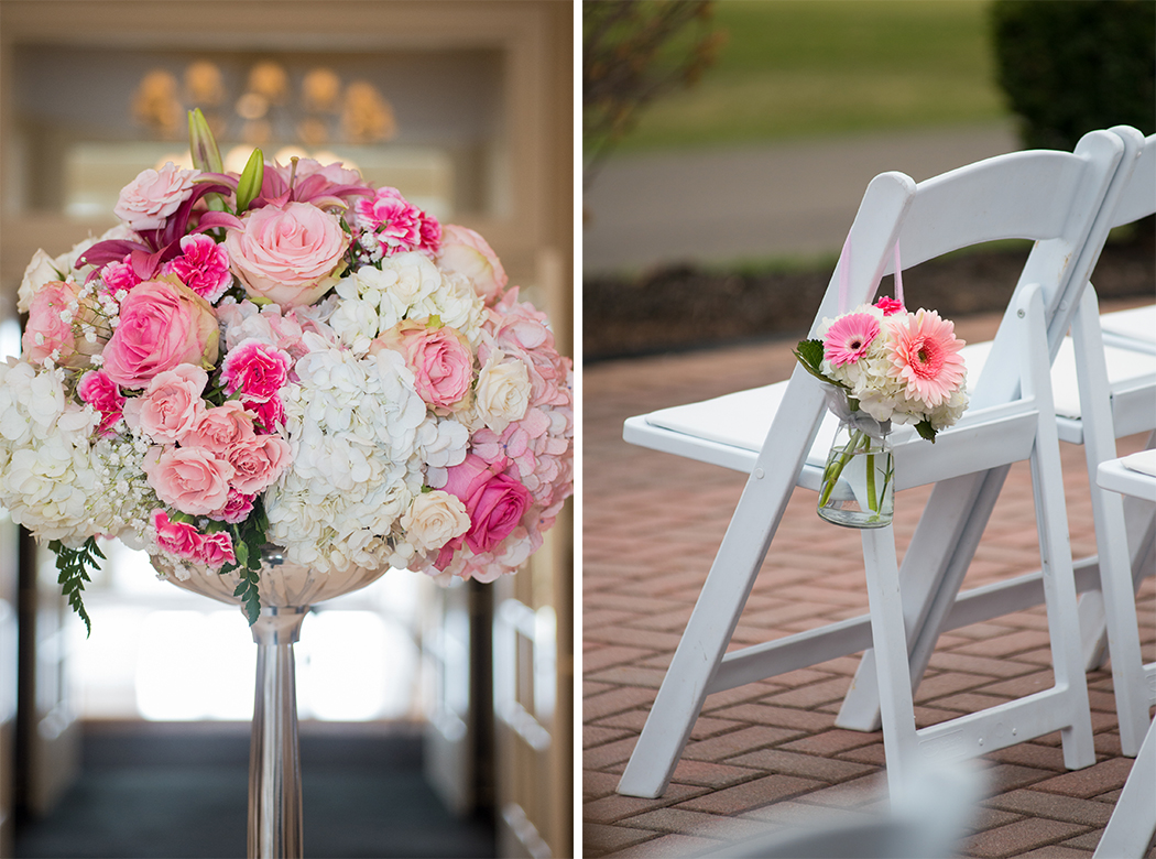 pink and white roses at outdoor wedding ceremony in virginia