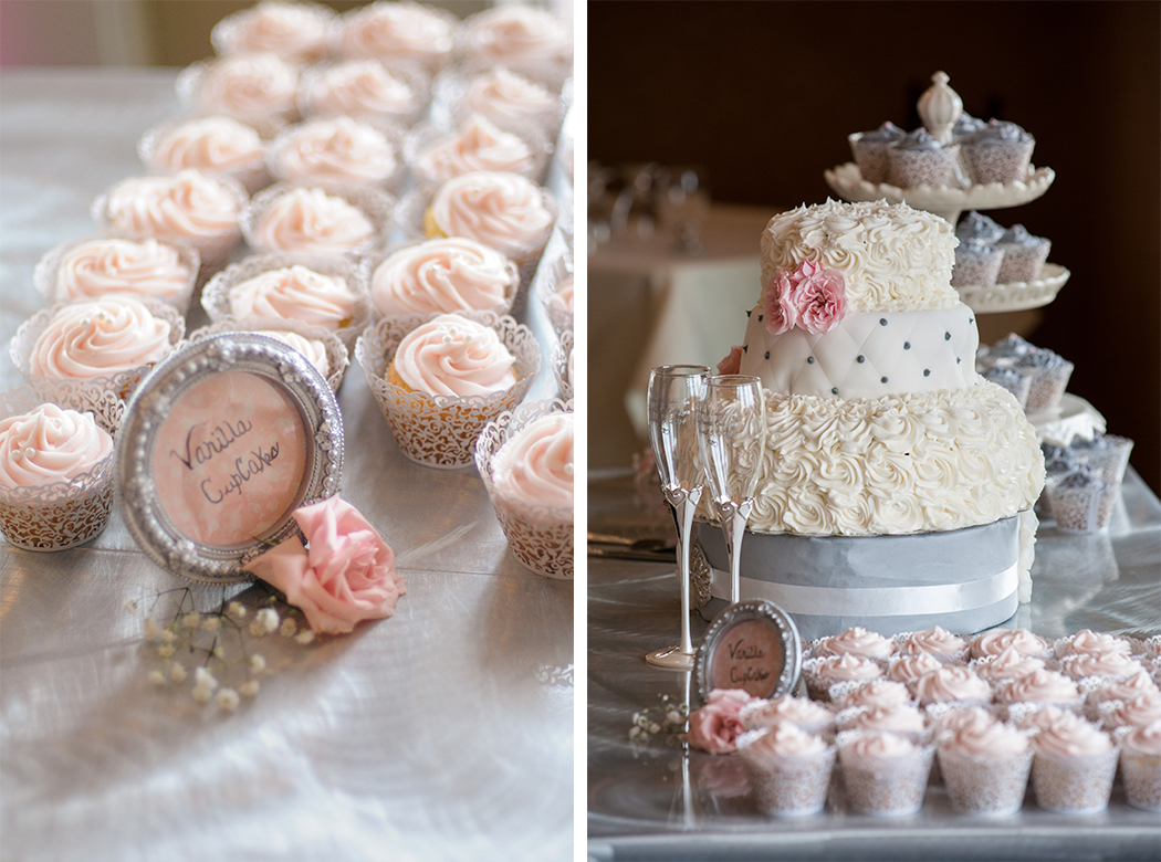 blush pink wedding cake with cupcakes a blush pink country club wedding bridalpulse 12058