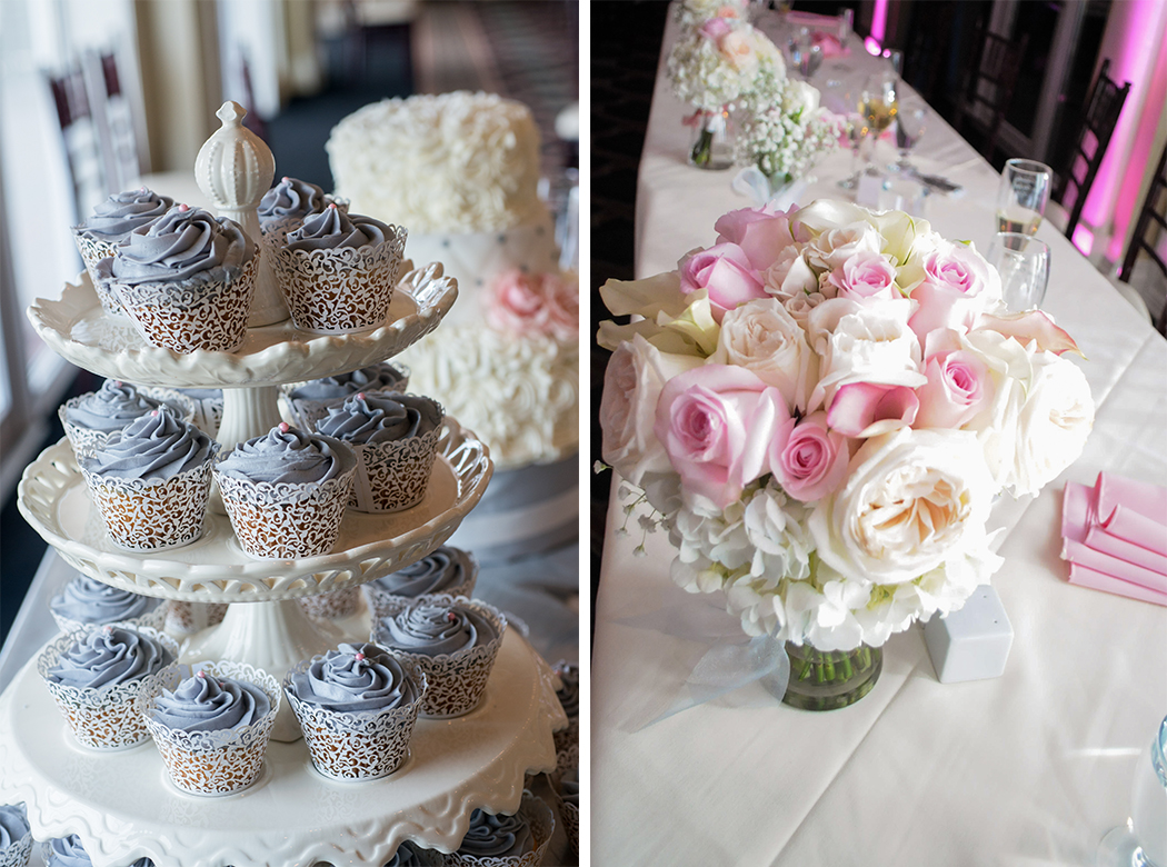 cupcakes and rose centerpiece at country club wedding