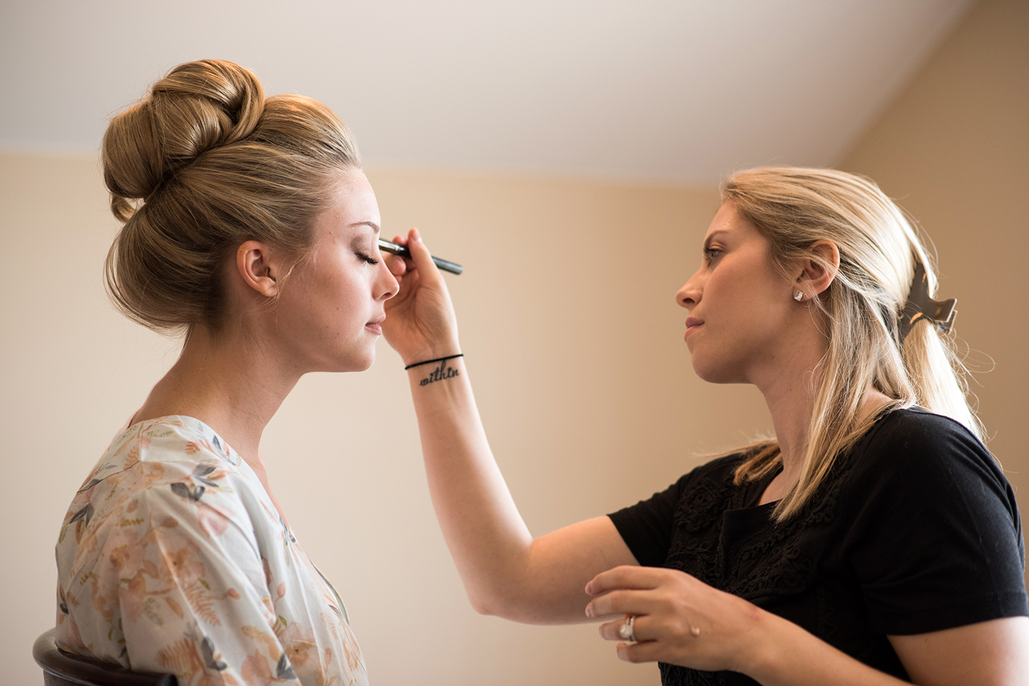 bride getting ready for ballet inspired wedding