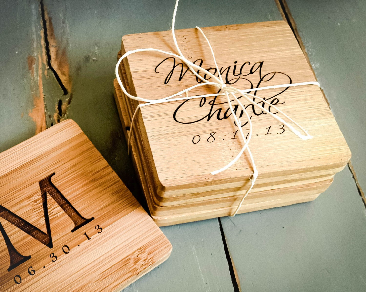 coasters engraved gift custom personalized shower couple gifts housewarming party bamboo guests bridal weddings weddbook
