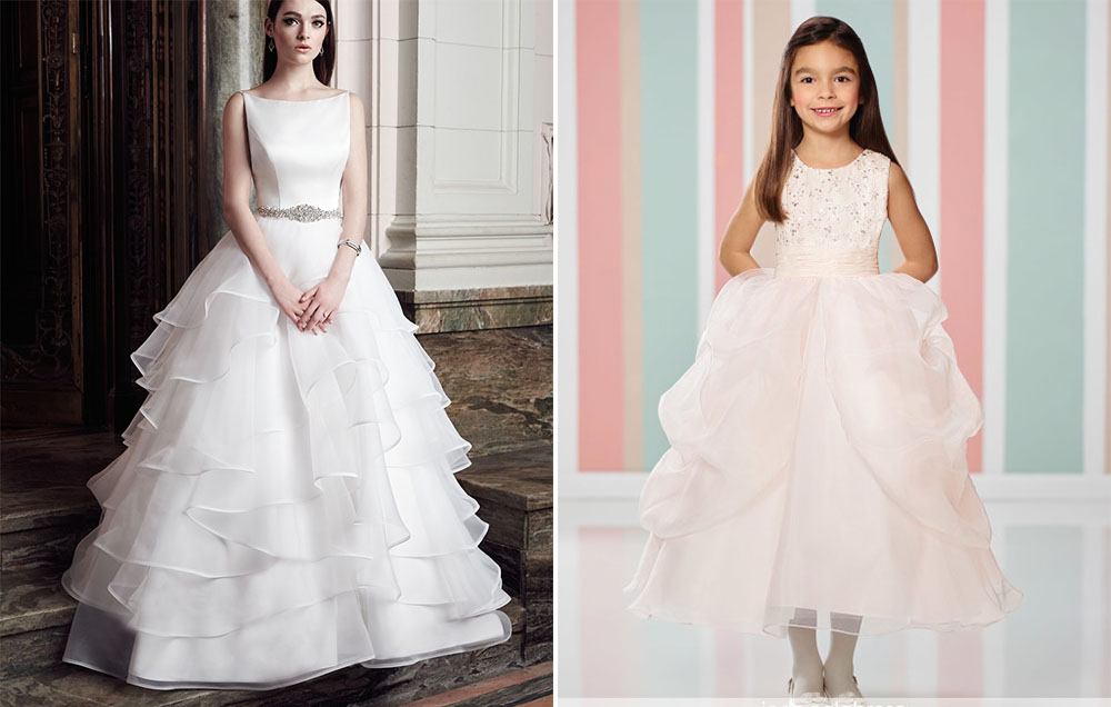 mikaella wedding dress with joan calabrese for mon cheri flower girl dress