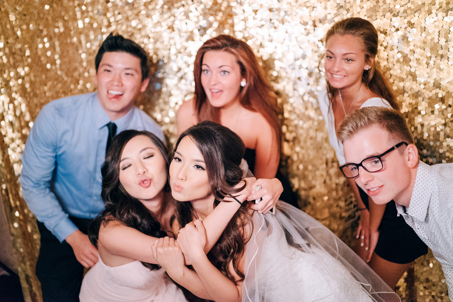 bridal party at wedding reception