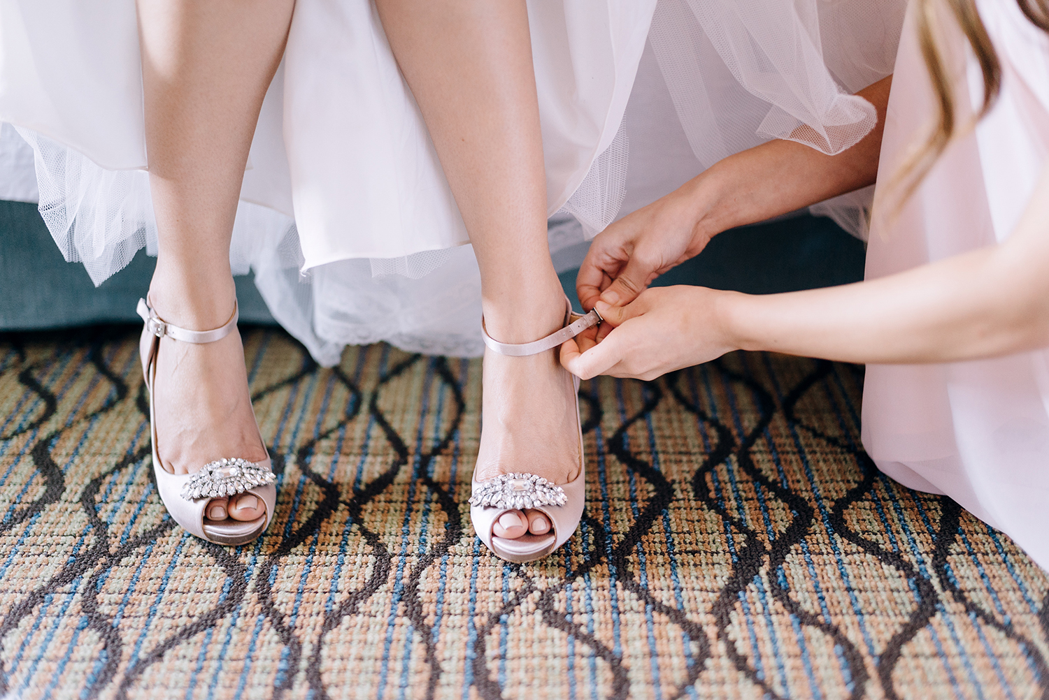bride getting ready for classic romance wedding