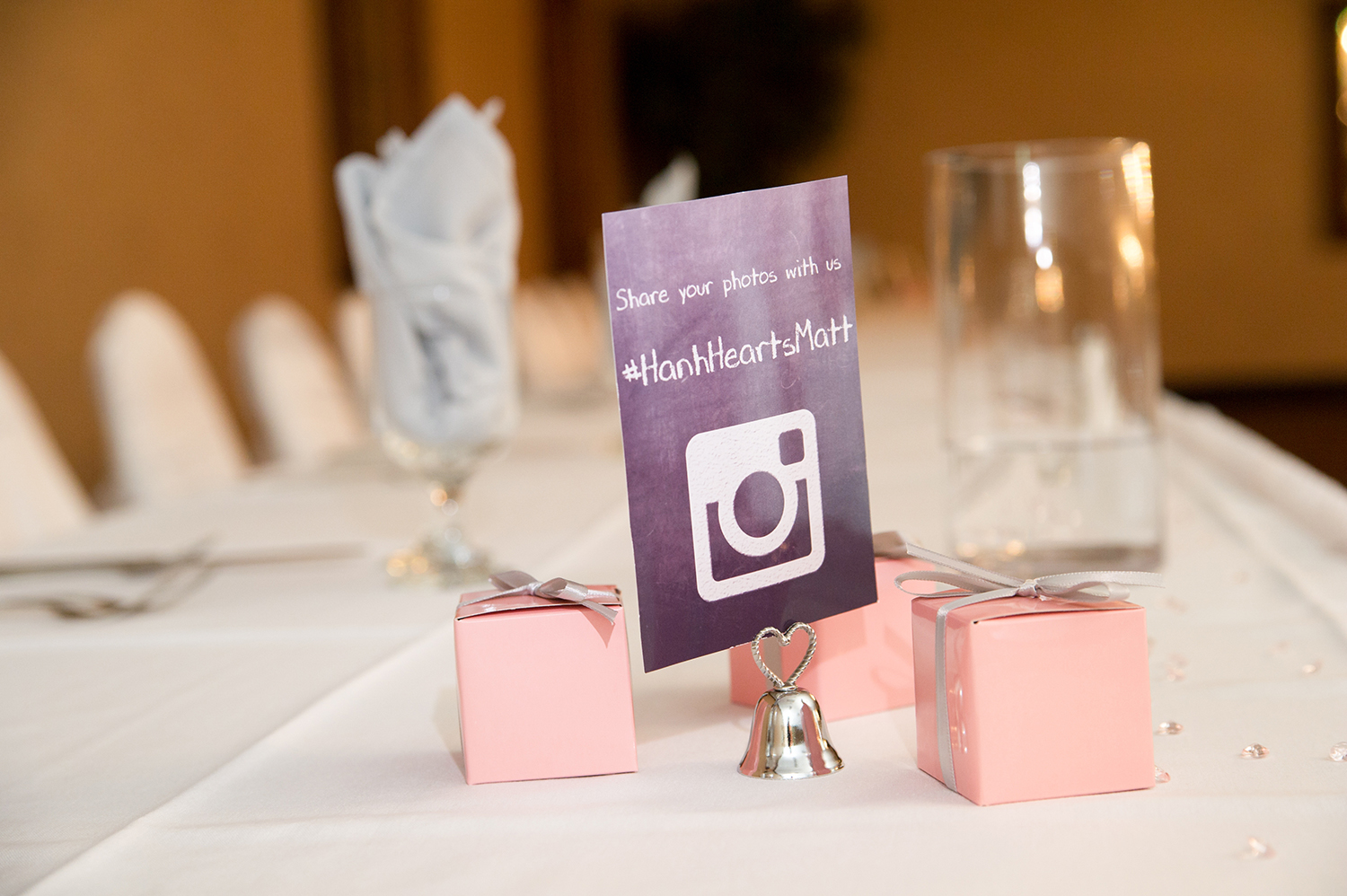 wedding favors and instagram hashtag