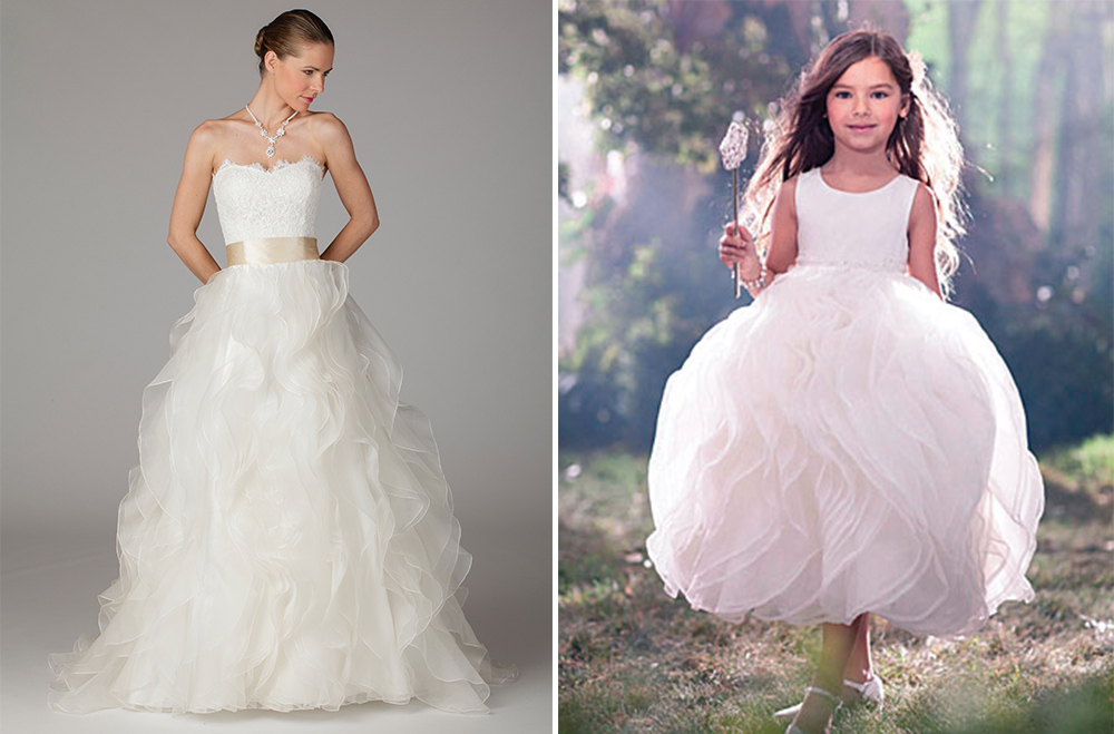 la francy couture wedding dress with alfred angelo flower girl dress