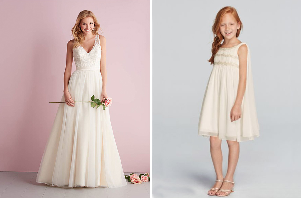 Allure Romance Wedding Dress with Wonder by Jenny Packham flower girl dress