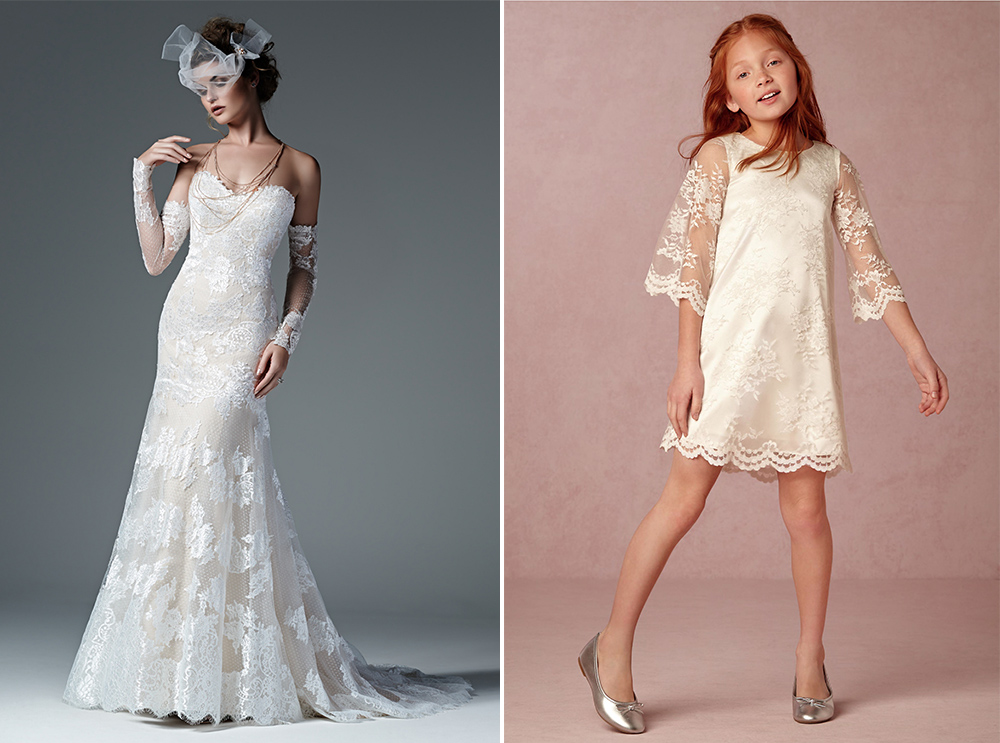 Sottero and Midgley wedding dress with BHLDN flower girl dress