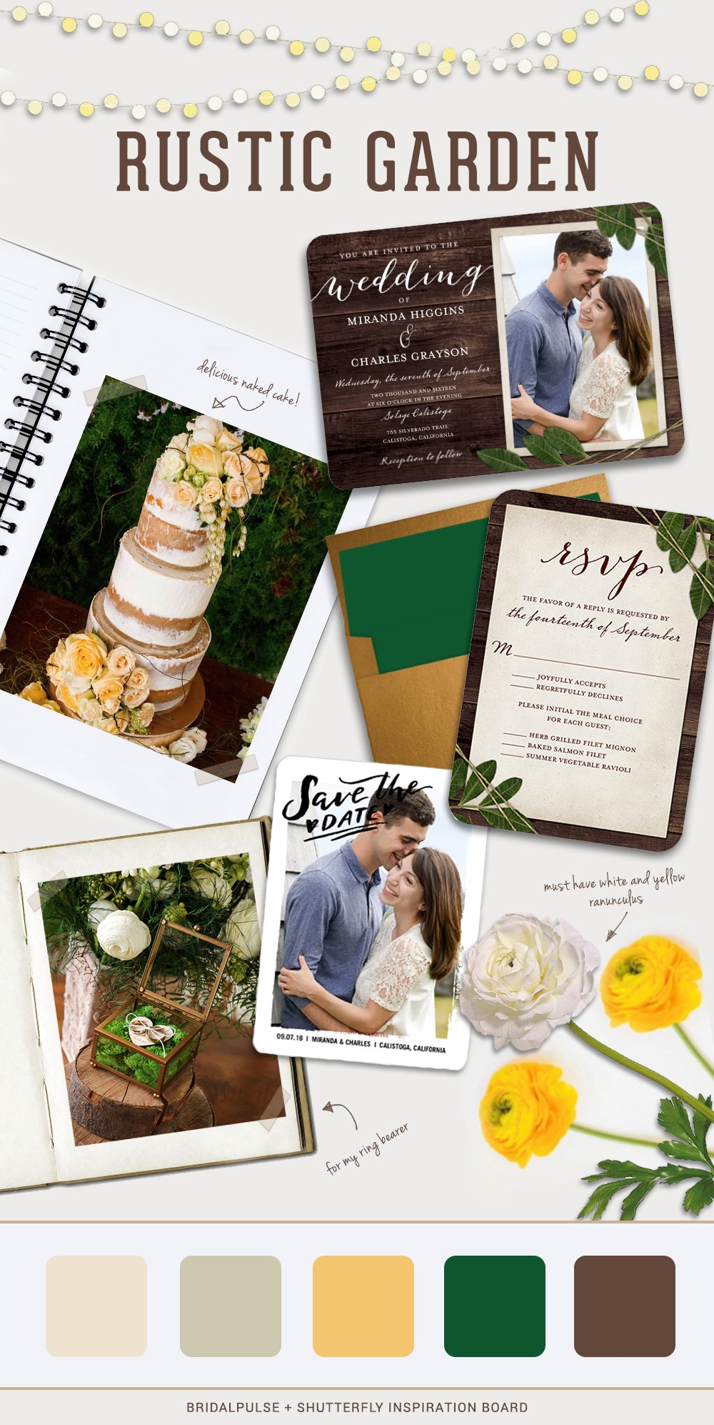wedding inspiration board rustic garden wedding shutterfly