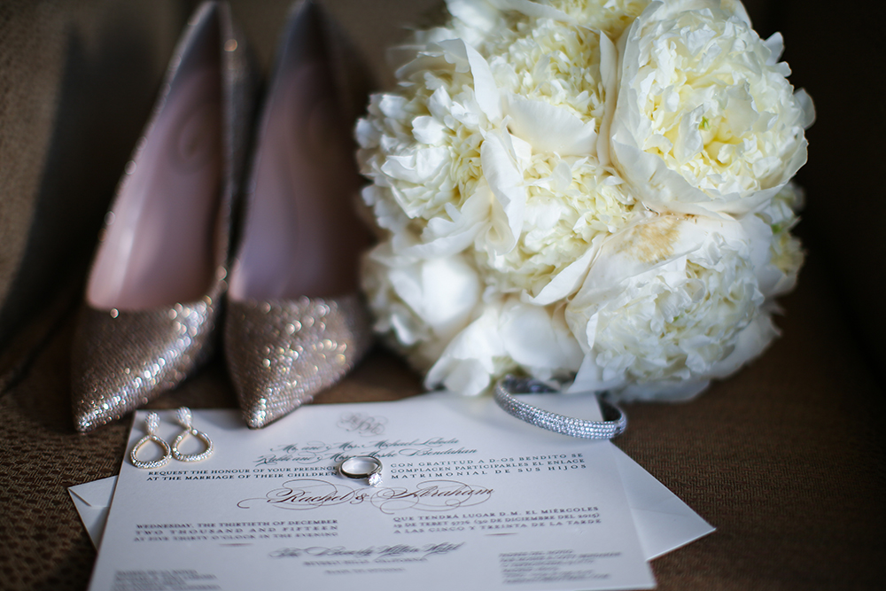 elegant indoor wedding - bouquet and gold sequined shoes