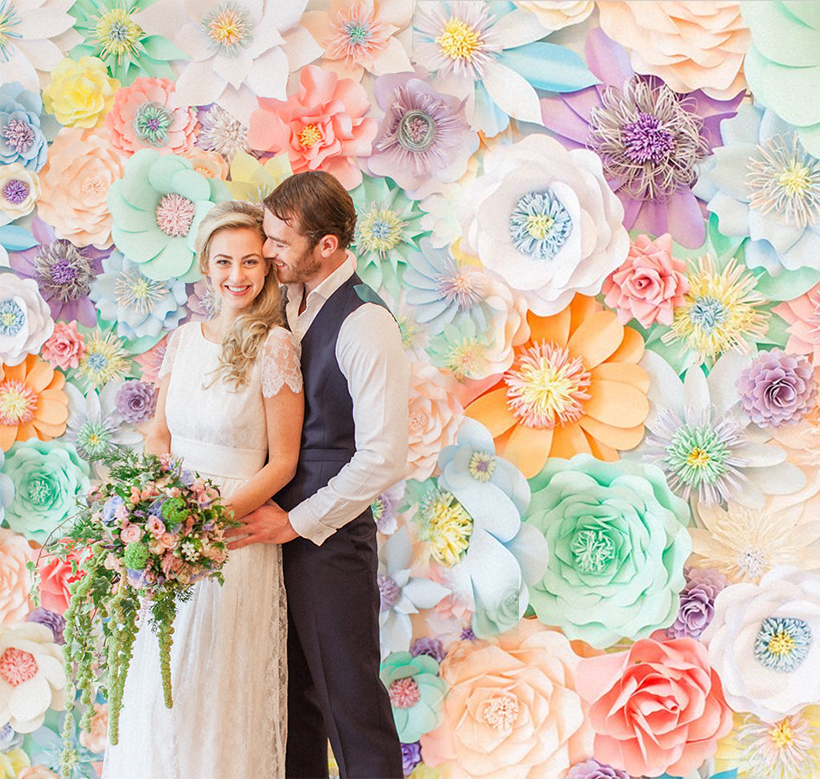 Pastel Paper Flower Wall by Perfabulous as seen on Wedding Chicks - via Roberta Facchini Photography