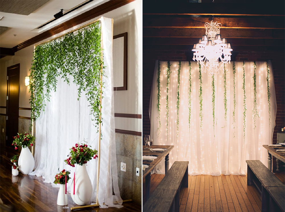 8 gorgeous pipe drape wedding backdrops bridalpulse pipe and drape wedding backdrops hanging vines rustic wedding backdrop solutioingenieria Choice Image