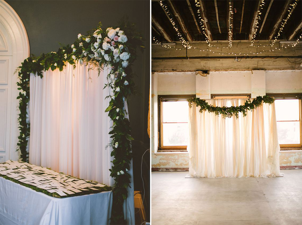 8 gorgeous pipe drape wedding backdrops bridalpulse pipe and drape wedding backdrop decorated with garland solutioingenieria Choice Image