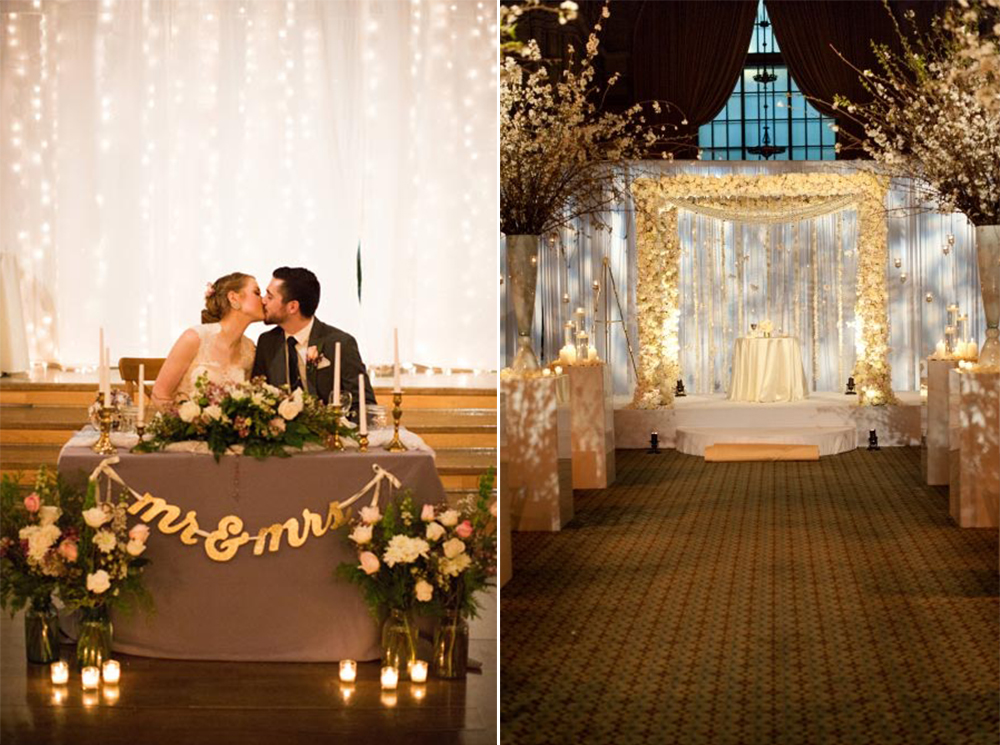 pipe and drape wedding backrops with twinkling lights