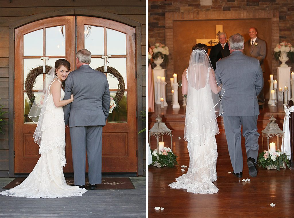 BridalPulse - Sweet Home Alabama Farm Wedding By Rent My Wedding | bride walking in with father